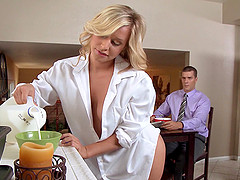 Impatient blondes Alena Croft and Kennedy Leigh share a cock indoors