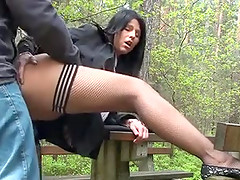 Sexy brunette wearing stockings gets fucked outdoors in homemade vid