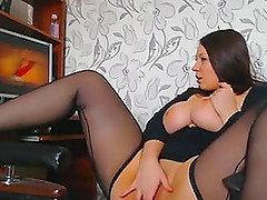 Hardcore homemade solo with big-assed brunette wearing stockings