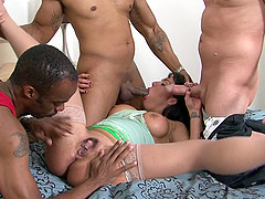 Mahina Zaltana's snatch gets ravaged by two black guys and white dude