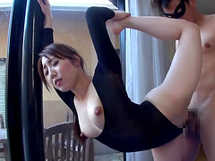 Flexible Asian babe gets a private yoga lesson with a happy end