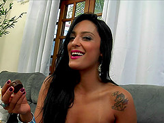 Tattooed Latina stunner gives a blowjob then gets slammed hardcore