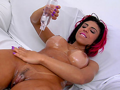 Fake tits hottie Laysa sucking and fucking a big hard cock