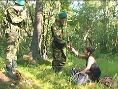 Soldiers get naked with a Russian mature slut and bang her hard