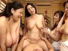 Nasty group sex with very slutty and willing mature Japanese women