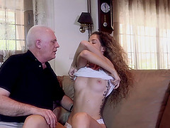 Old guy fucks a skinny girl in her soaking wet pussy