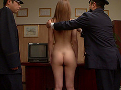 Asian naked prisoner goes through a Clockwork Orange treatment