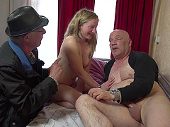 Cute blonde prostitute rides the old man with lust