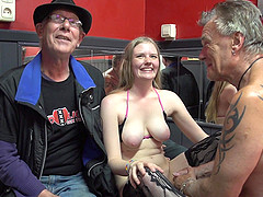 Old guy fingers and fucks a cute college aged hooker
