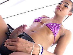 Shemale pulls out her big cock and makes herself cum