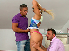 Naughty blonde girl is ready to take on two schlongs at once!