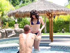 Seductive Natalie Heart penetrated right by the pool