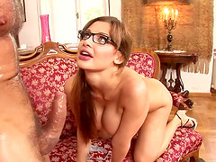 Busty babe with glasses wants to feel a throbbing cock up her hole