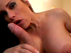 Milf beauty with big round titties sucking dick in POV