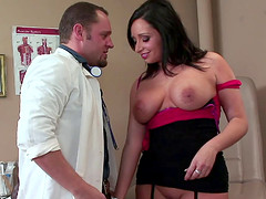 Doctor can't help but eat his patient's pussy then fuck her