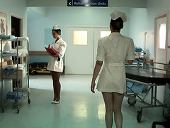 Nurse hotties with big fake titties fucking a hung patient
