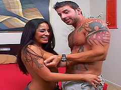 Tanned porn hottie and a muscular man fucking hardcore