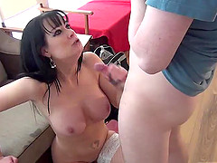Sexy Tanya gets invited then giving massive dick superb blowjob