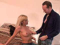 Pretty blonde girl smiles as the thick dick explores her anal depths