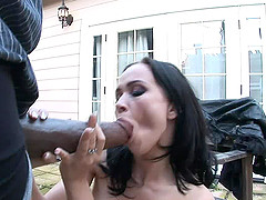 Stunning brunette thrilled as the big black cock throbs her coochie