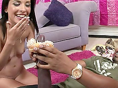 Glamorous doll awarding big black cock superb blowjob in interracial sex