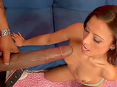 Amazing brunette awarding big black cock superb blowjob in interracial sex