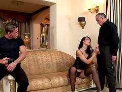 Slim vixen Suzie Diamond gets fucked hard in a gangbang