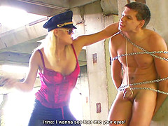 Captivating blonde with natural tits spanking her slave then busting heavy balls in BDSM