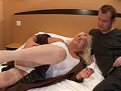 Hot ass mature blonde in nylon stockings licking balls