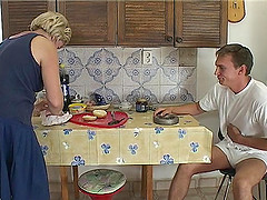 Granny Feed Young Man With Pussy Fucking Breakfast