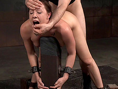 Big tits slave yelling when drilled doggystyle in BDSM