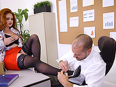 Redhead with huge tits having her office day spiced up with a big cock