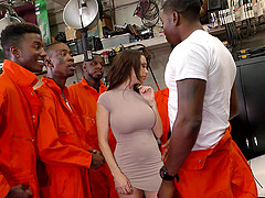 Black inmates and the police officer will give her a good pounding!