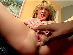 Naughty Holly likes playing with a lucky fellow's erected schlong