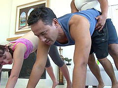 Hot bisexual mmf orgy action gets rough