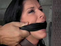 Long hair brunette getting penetrated doggystyle in BDSM