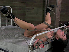 Bondage slave moaning lovely while her pussy is fingered in BDSM
