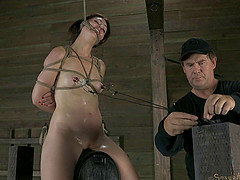 Charming slave gets refined with sex machine in BDSM porn