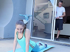 Petite Baby Stretched our and Fucked During Yoga