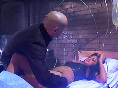 Audrey Bitoni enjoys bouncing on a hunk's stiff pleasure tool