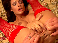 Angelina Valentine fingered then throbbed hardcore doggystyle