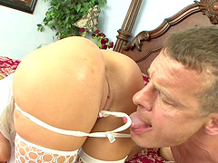 Holly Wellin wears white stockings while being plowed