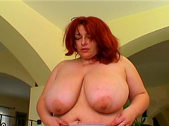 Redhead mature BBW with big tits throbbed hardcore
