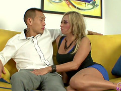 Claudia Valentine sucks a dick and receives it doggy style