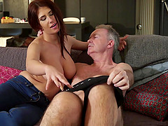 Teen fucked by old man she has beautiful big tits and bounces her boobs when she is fucked