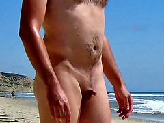 Tiny dick on public beach