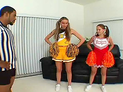 Cristina Agave and her cheerleader friend bend over for a black dick