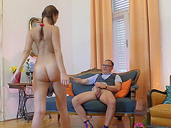 Chelsy Sun gets naked for a mature lover's erected penis