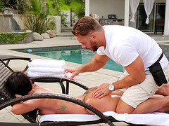 Jada Stevens ravished well by a horny masseur's cock
