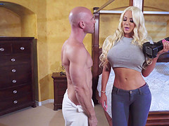 Slutty Nicolette Shea spreading and having her pussy wrecked